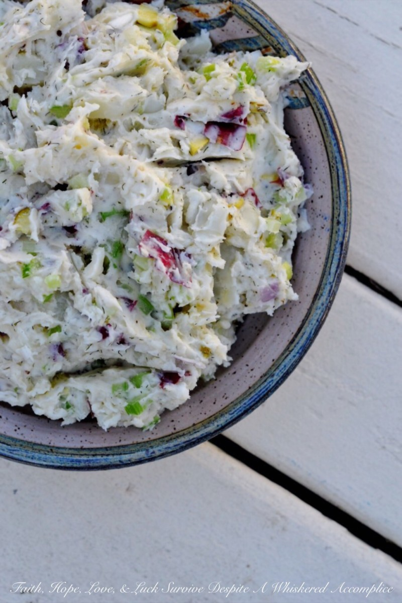 Mashed Potato Salad With Dill Pickles