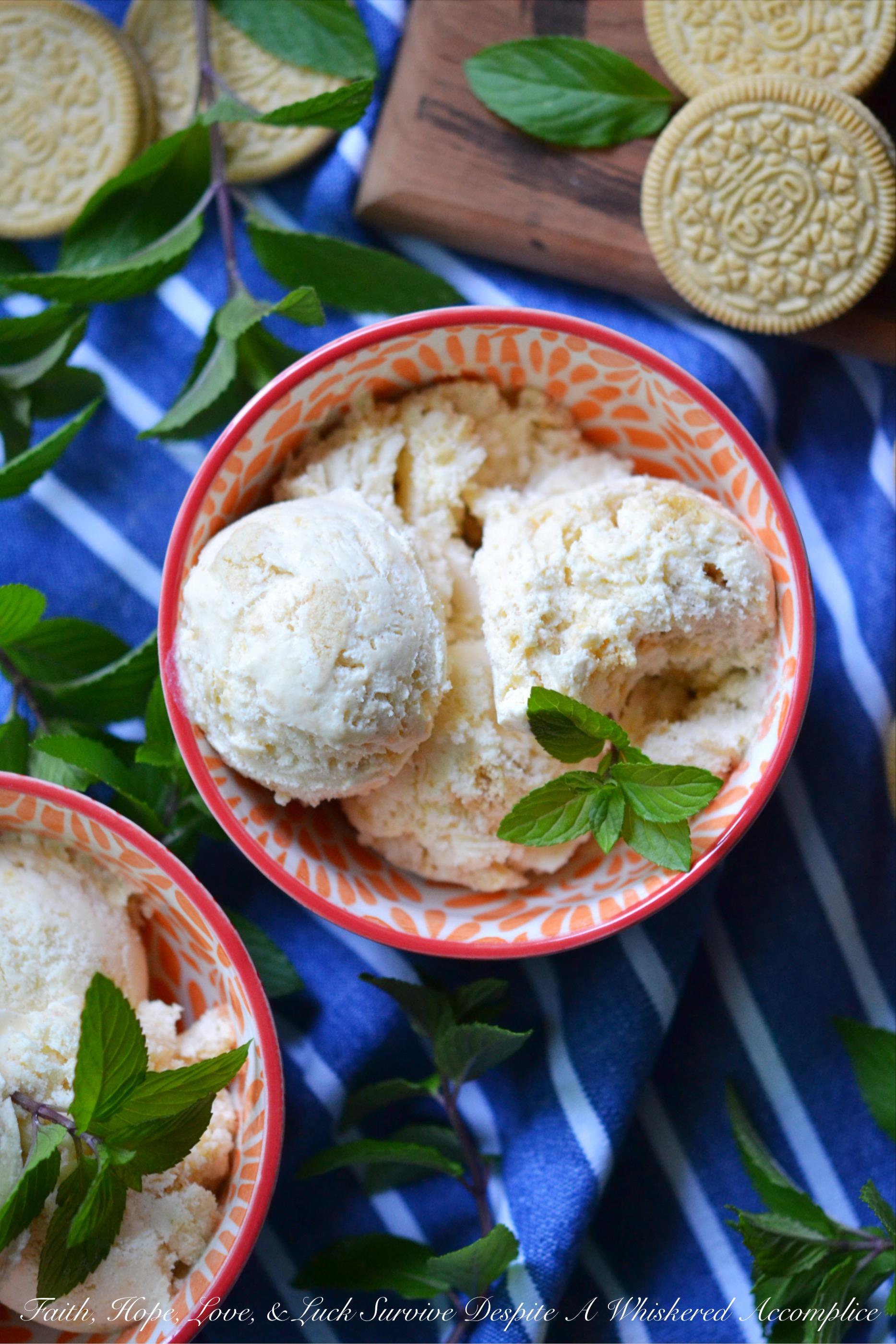 Golden Oreo Peach Cobbler Ice Cream Faith Hope Love